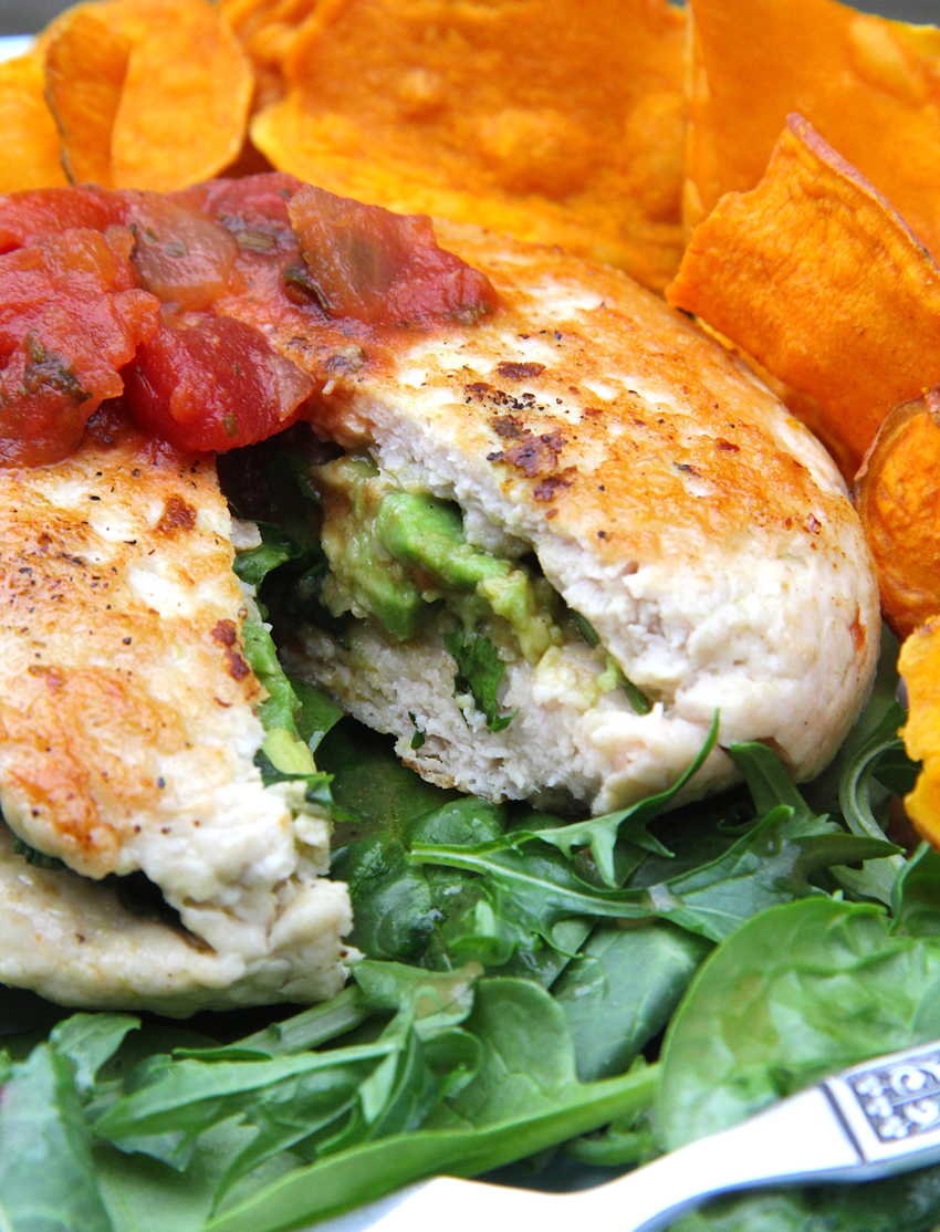 Juicy Avocado-Salsa-Stuffed Organic Turkey Burgers