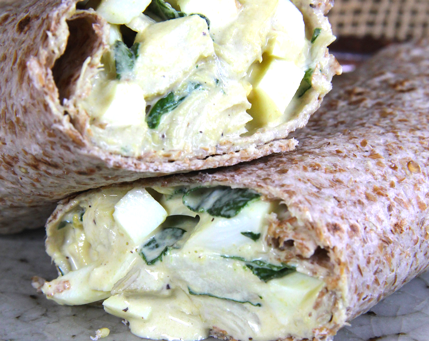 Spinach-Artichoke Egg Salad Wrap