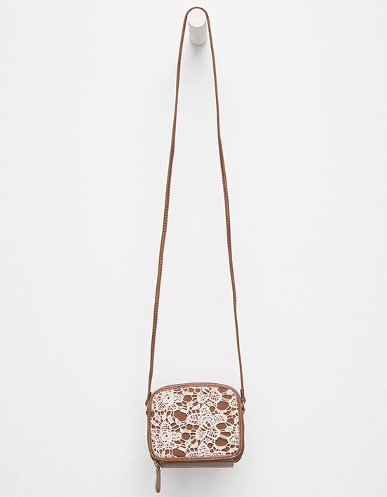 Crochet Faux Leather Crossbody Bag in Cognac