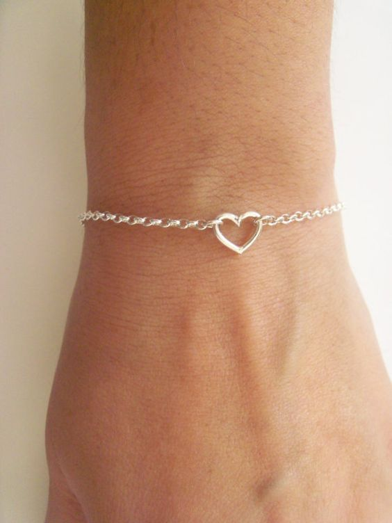 Tiny heart sterling silver bracelet