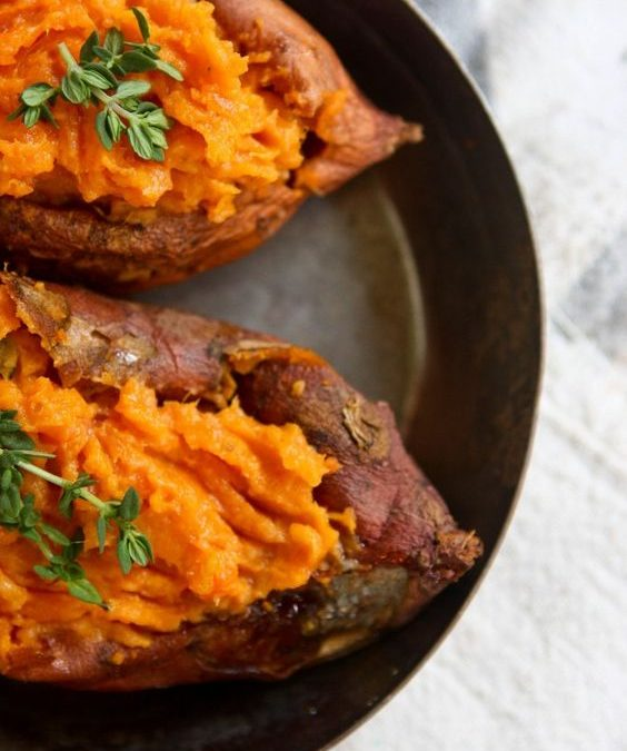 Roasted garlic twice baked sweet potato