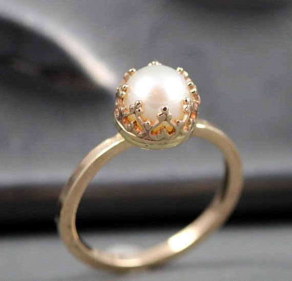 diamond white ring gold pearl flowering ladies rings