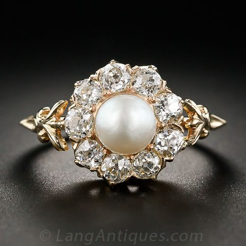rings h vintage diamond pearl ring