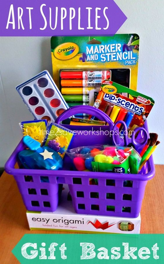 Art supplies gift basket