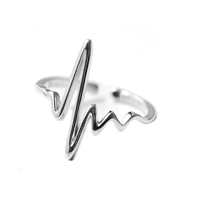 Heart Beat Sterling Silver Open Ring