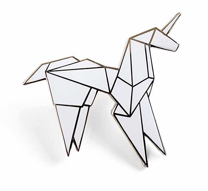 Origami Unicorn Lapel Pin