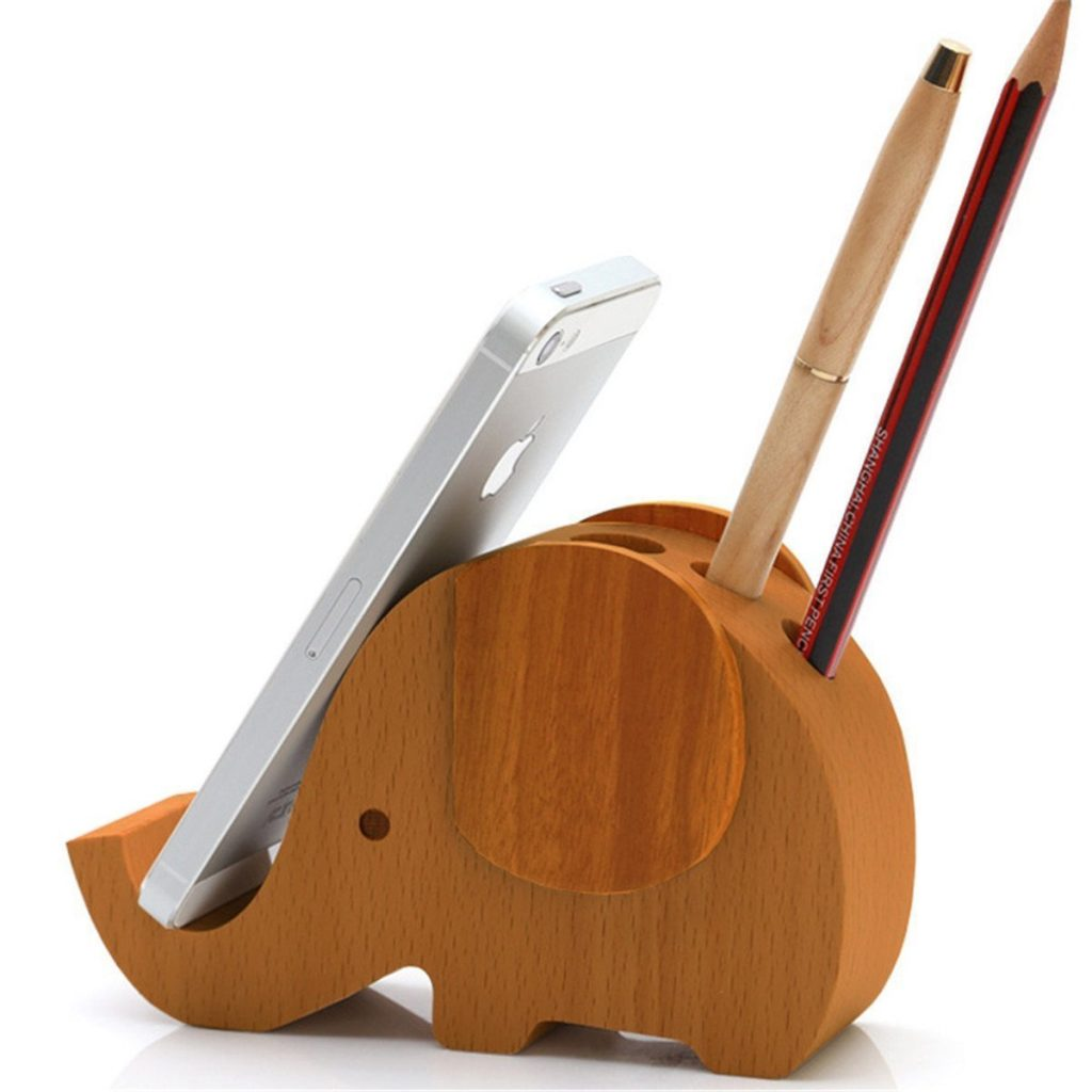Wood Elephant Phone Holder